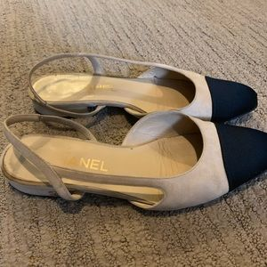 Chanel Beige/Black Slingbacks